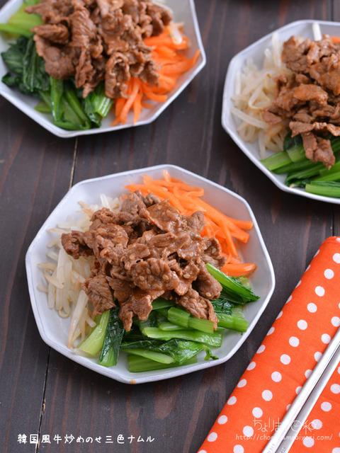 韓国風牛炒めのせ3色ナムル201221-2