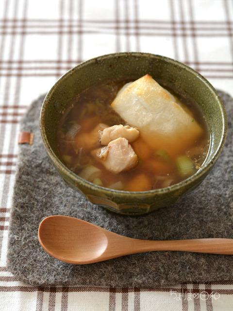焼き餅と鶏の生姜スープ_献立201801-2