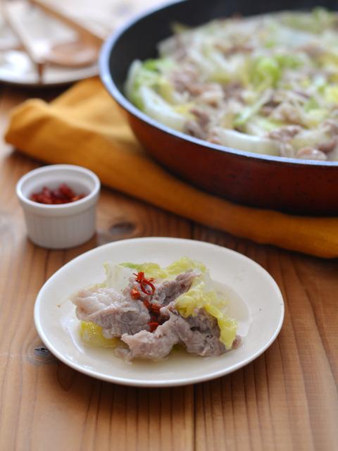 白菜と豚肉のフライパン蒸し ナンプラー仕立て3