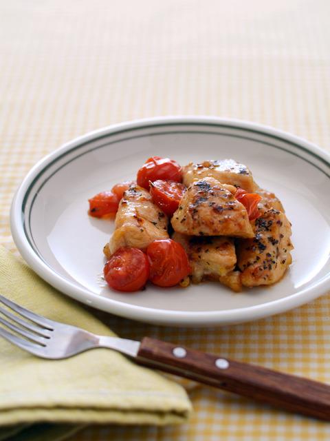 鶏トマトのガーリックバジル炒めR