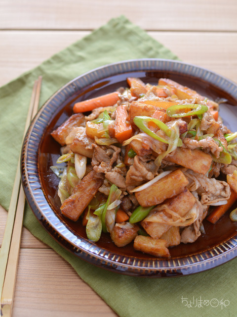 豚肉と長いもの香味甘醤油炒め2