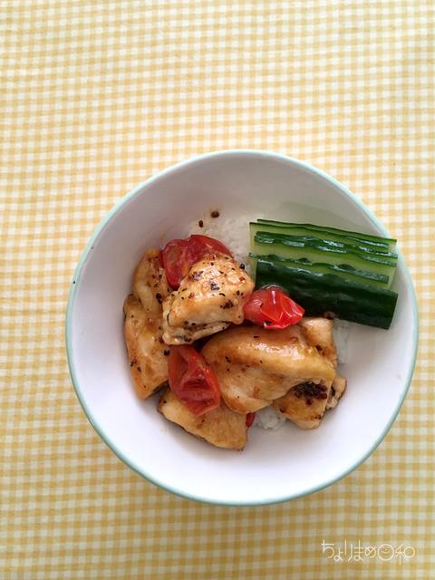 鶏トマトのガーリックバジル炒めR4