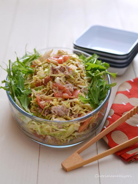 トマトごまだれの豚しゃぶサラダ2