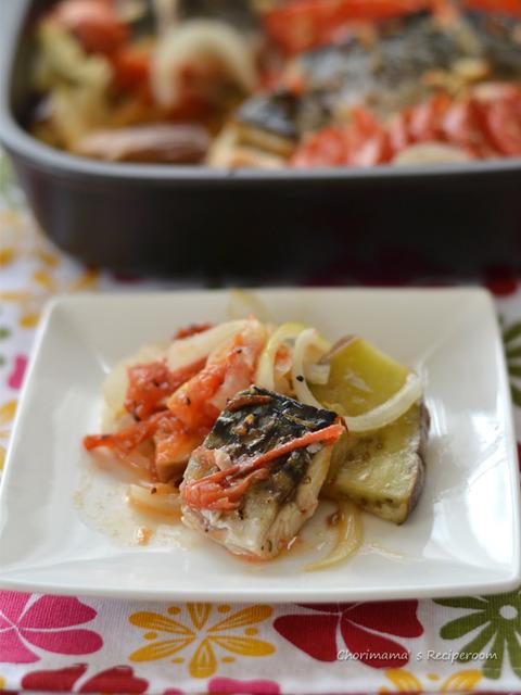 塩サバのフレッシュトマトオーブン焼き3