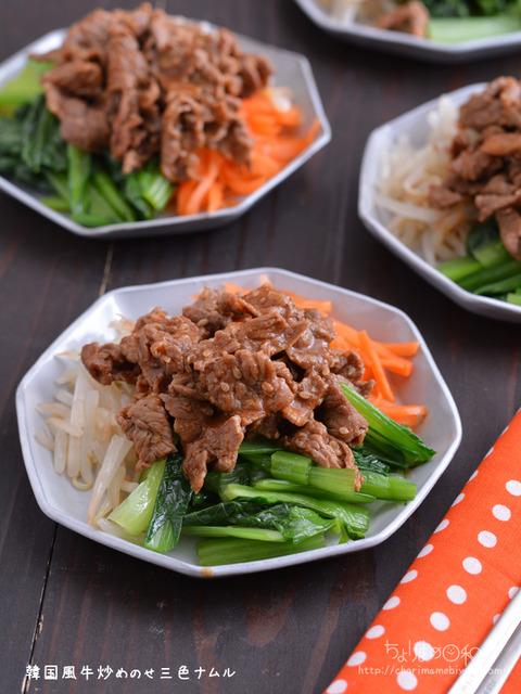 韓国風牛炒めのせ3色ナムル201221