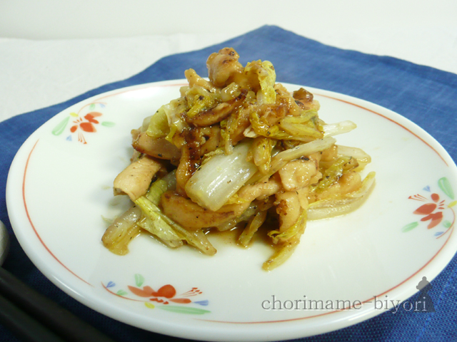 鶏むねと白菜の細切り炒め