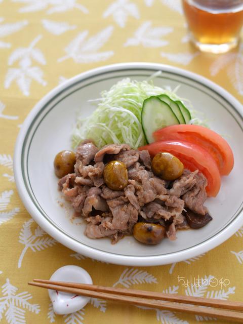 甘栗と豚肉のしょうが炒め_クレハ201711-2