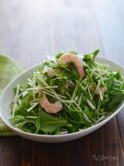 水菜とエビのサラダ170205