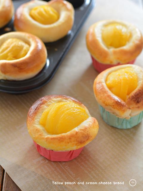 黄桃とクリームチーズのパン