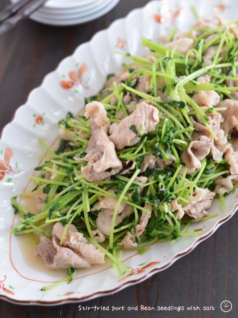 豚肉と豆苗のシャキッと塩炒め190817-2