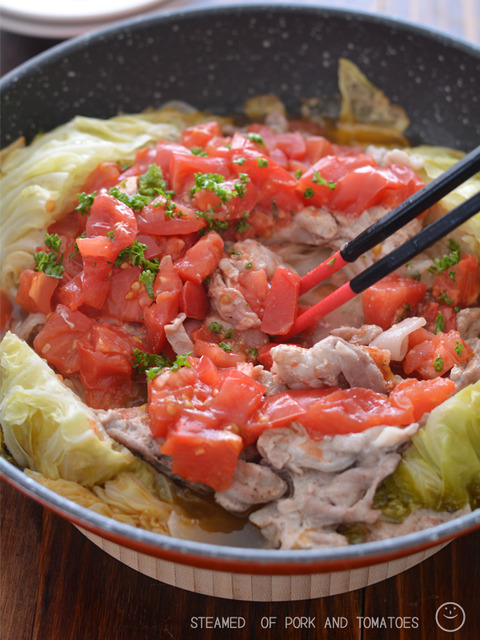 豚トマフライパン蒸し 野菜増し増し190608-2