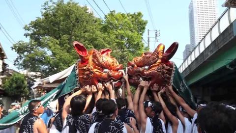 住吉神社大祭の獅子頭宮出し
