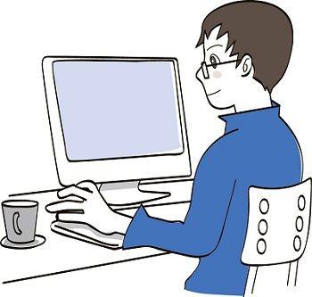 PC操作男性