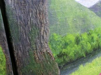 楠木の樹皮を描く