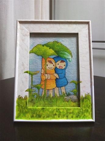 額装原画「森の雨やどり」