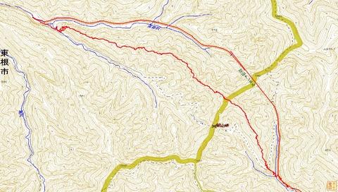 関山峠嶺渡りルートマップ