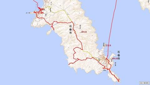 網地島縦走ハイキングルート全図