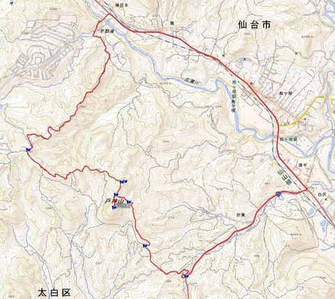 戸神山から不動滝縦走ルートGPS