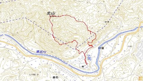 碁石北山ハイキングルートマップ