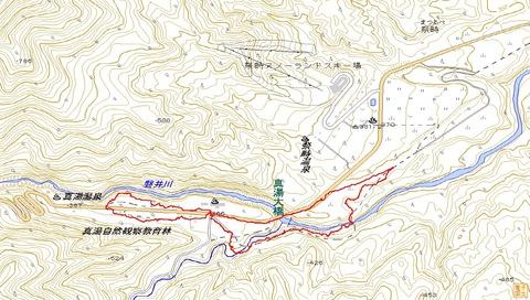 猿跳古道ハイクルートマップ