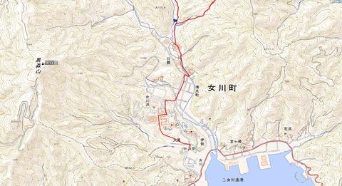 石投山登山口から女川駅ルート