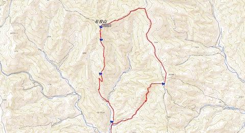 石投山周回ハイキングコースマップ