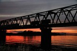 夕陽久慈川鉄橋