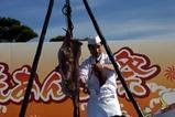 大洗あんこう祭り08-11-23(4)あんこう吊し切り(2)ひれをとる