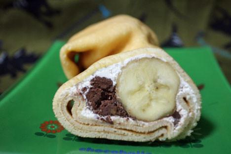 もっちりしたクレープ(ザックザクチョコ&バナナ)