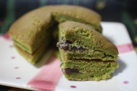 宇治抹茶のパンケーキ(つぶあん&抹茶ホイップ)