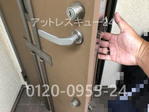 ウェスト玄関ドア錠ディンプルキー2か所ロック鍵開け