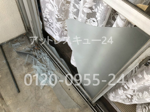 3mm厚ベランダすりガラス交換