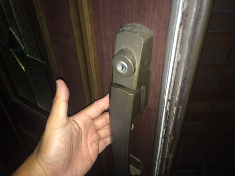 プッシュプル玄関ドアノブ ディンプルキー開錠