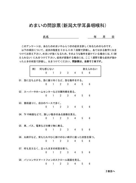 めまいの問診票(新潟大学耳鼻咽喉科)