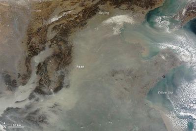 中国スモッグの衛星写真