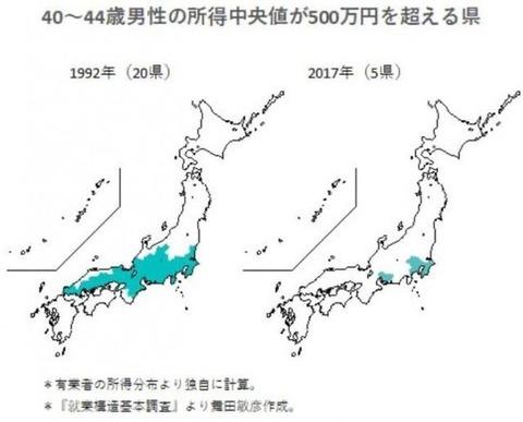 所得中央値が500万円を超える地域