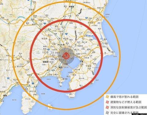 核が東京に落ちた場合