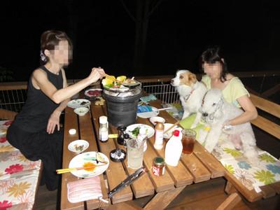 七輪で夕食