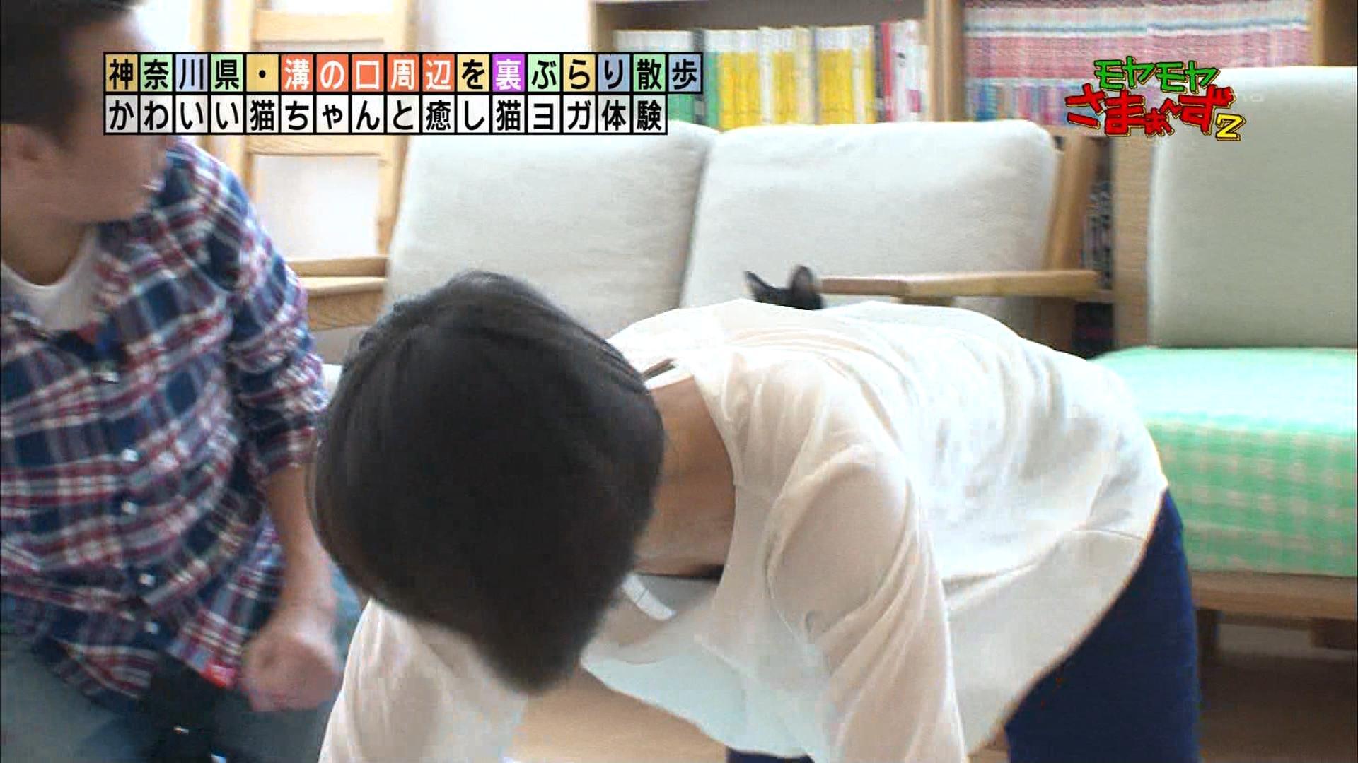 狩野恵里アナが四つん這いで胸チラ☆ ブラモロ見えハプニング☆☆