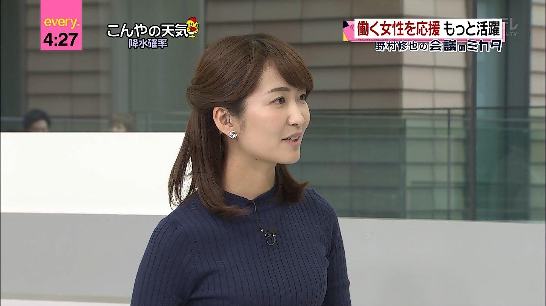 【画像】中島芽生アナ ミニスカ & ニット♪