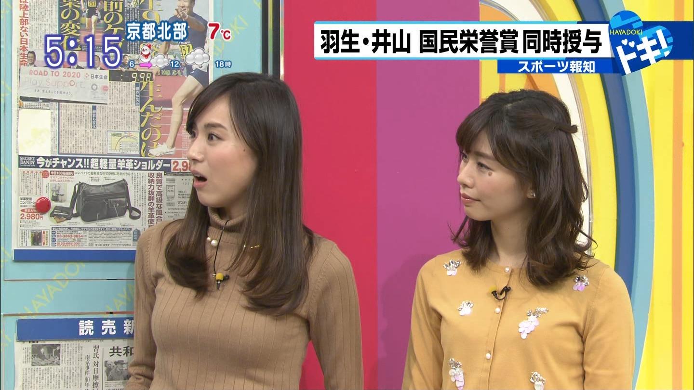 笹川友里アナ ニットでおっぱい強調!