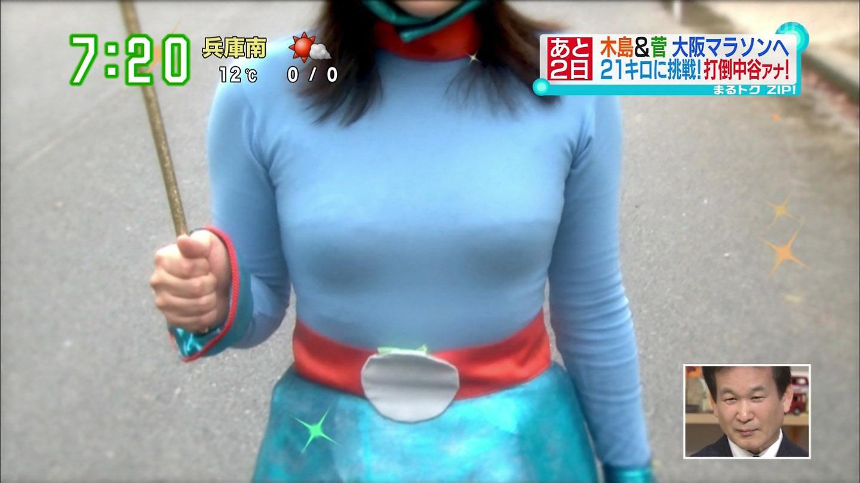 諸國沙代子アナ 全身タイツでおっぱいクッキリ!!