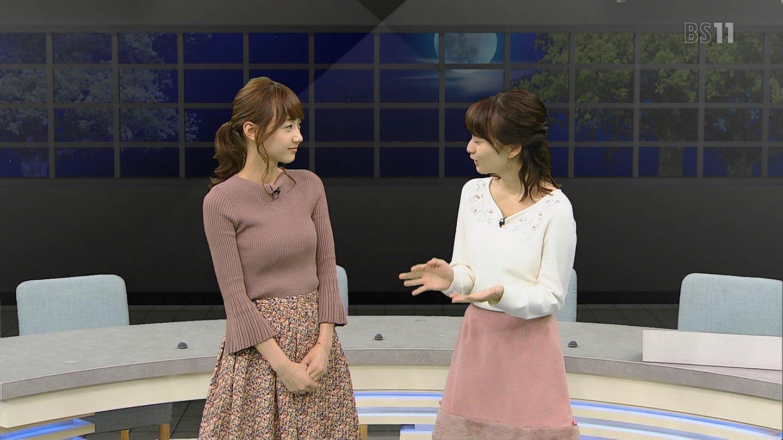 高田秋キャスターと高見侑里アナ ニットの横乳!