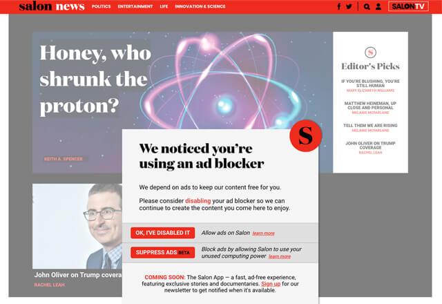 無料ニュースサイト「salon」は広告ブロッカーを利用するユーザーに暗号通貨マイニングを依頼