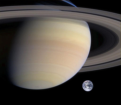 Saturn, Earth size comparison