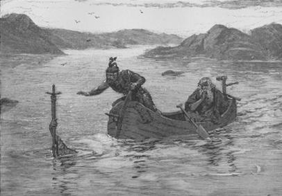 The Lady of the Lake gives Excalibur to King Arthur