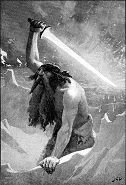 The giant with the flaming sword by Dollman