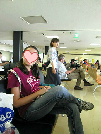 Angela at Osaka Airport heart