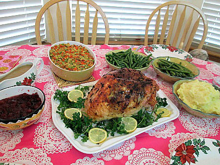 tableful of food