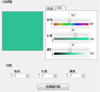 色の調整インジケータ